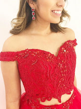 Two Piece Prom Dresses Off-the-shoulder A line Long Red Prom Dress JKL996|Annapromdress