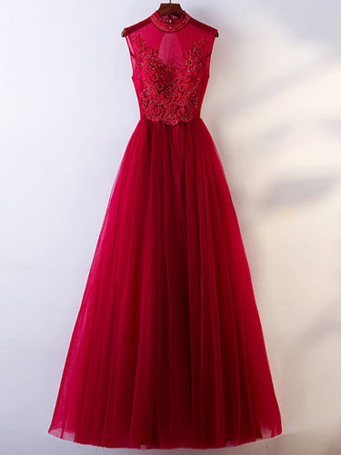 Chic Prom Dresses High Neck A line Burgundy Prom Dress Sexy Evening Dress JKL997|Annapromdress