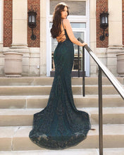 Dark Green Scoop Tulle Beaded Mermaid Prom Dress with Sweep Train,JKM2012|annapromdress