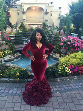 Burgundy Plus Size Prom Dresses Trumpet/Mermaid Floor-length Long Prom Dress JKP003
