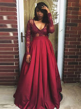 Chic Plus Size Prom Dresses V-neck Satin Burgundy Long Sleeve Prom Dress JKP005