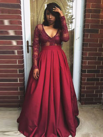 Chic Plus Size Prom Dresses V Neck Satin Burgundy Long