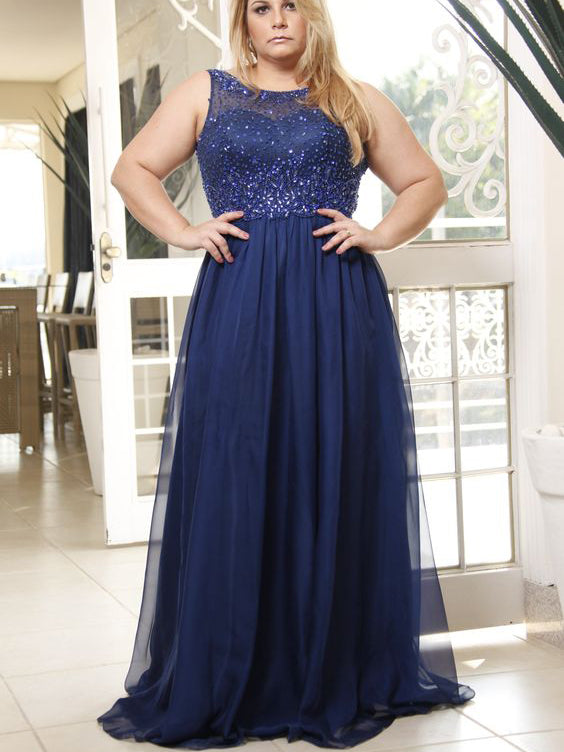 Beautiful Plus Size Prom Dresses Dark Navy Floor-length Prom Dress JKP006
