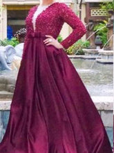 Sexy Plus Size Prom Dresses Burgundy Satin Long Appliques Prom Dress JKP012