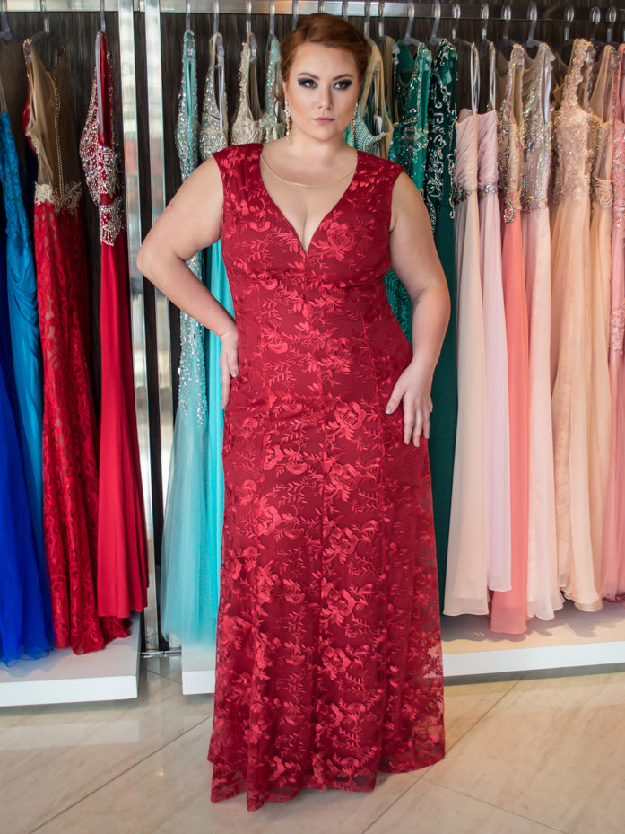 Burgundy Plus Size Prom Dresses Scoop A-line Lace Sexy Long Prom Dress JKP017