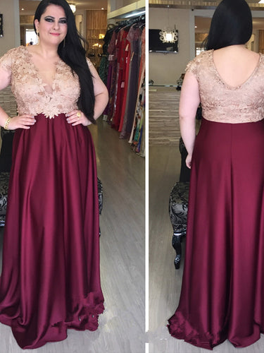 Burgundy Plus Size Prom Dresses V-neck Sexy Satin Floor-length Prom Dress JKP019