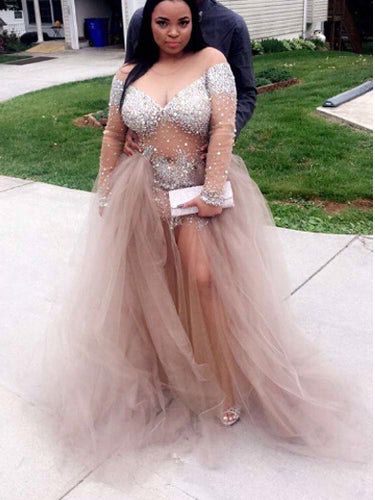 Plus Size Prom Dresses Sweep/Brush Train Tulle Rhinestone Long Prom Dress JKP020