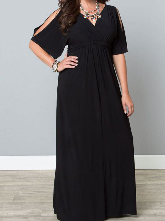 Chic Plus Size Prom Dresses Black Half Sleeve Chiffon Long Prom Dress JKP023