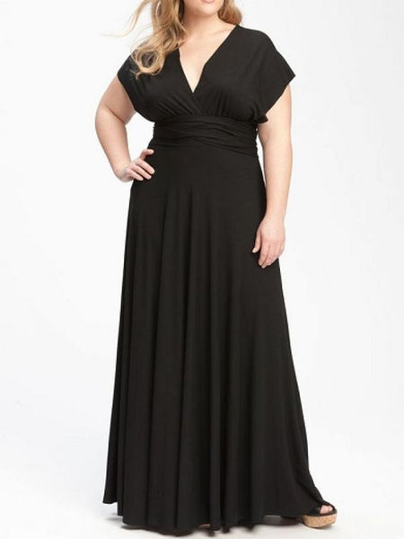Black Plus Size Prom Dresses V-neck Chiffon Floor-length Sexy Prom Dress JKP024