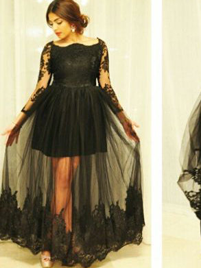 Plus Size Formal Dresses Short with Sleeves