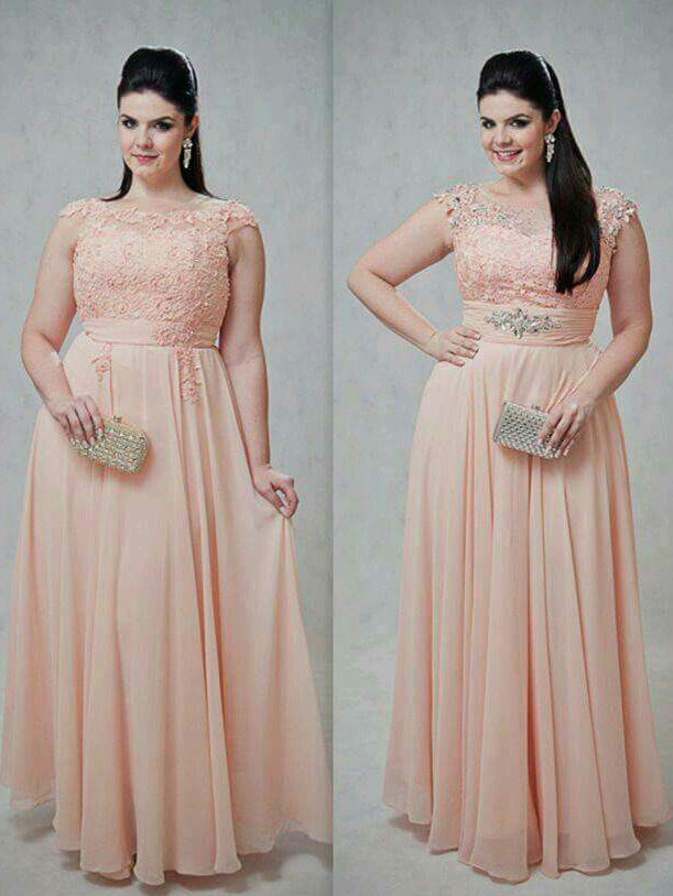 Chic Plus Size Prom Dresses Scoop Pearl Pink Long Chiffon Prom Dress ...