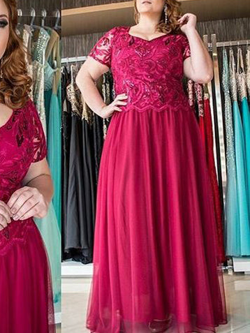 Fuchsia Plus Size Prom Dresses A-line Chiffon V-neck Sexy Long Prom Dress JKP027