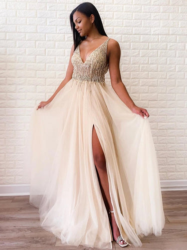 Sexy Deep V Neck Side-Slit Beaded Long Prom Evening Dress JKR301|Annapromdress