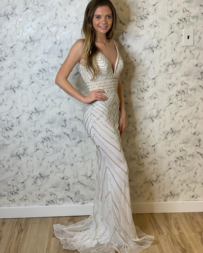 Deep V-Neck Sequin Beading Trumpet/Mermaid Prom Evening Dress JKR304|Annapromdress