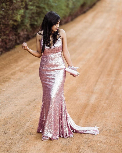 Sexy Halter V-Neck Rose Gold Sparkly Prom Dress JKR307|Annapromdress
