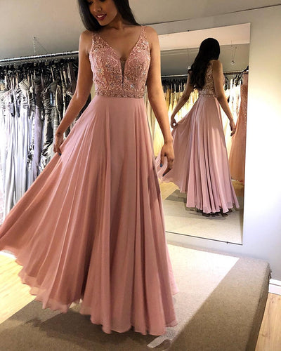 Chic Lace Bodice Beaded A-Line Long Chiffon Prom Dress JKR309|Annapromdress