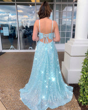Spaghetti Straps Scoop Mint Tulle Sparkly Prom Dress with Slit JKR317