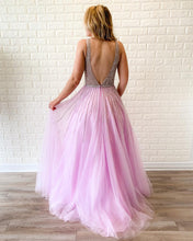 Sexy Deep V-Neck Beaded A-Line Modest Tulle Prom Dress JKR318