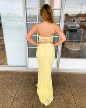 Exquisite Lace Yellow Spaghetti Straps Two Piece Mermaid Prom Dress JKR320