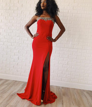 Strapless Red Satin Beading Trumpet/Mermaid Prom Dress JKR322