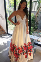 A-Line Spaghetti Straps Floor-Length White Printed Prom Dress with Pleats JKR324