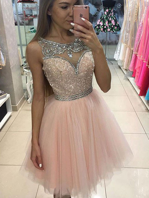 2017 Homecoming Dress Scoop Rhinestone Short Prom Dress Party Dress JKS003