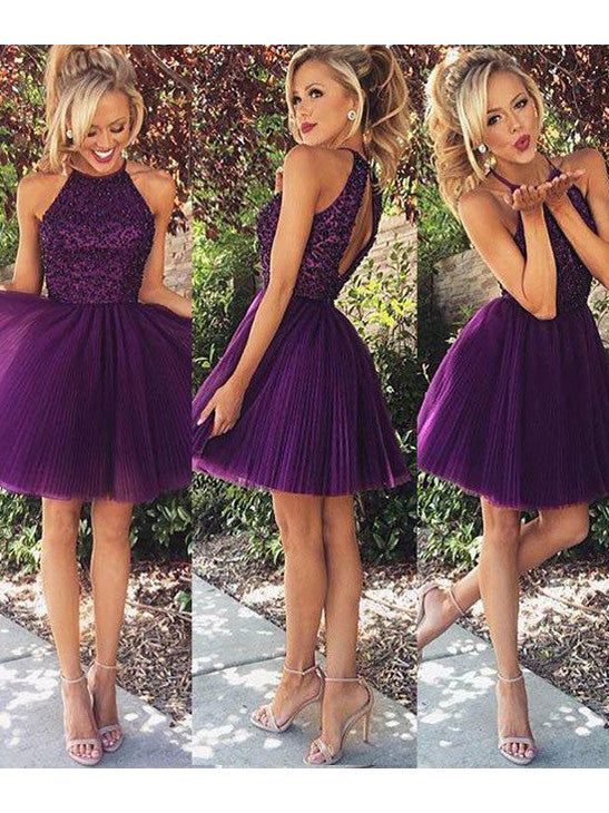 2017 Homecoming Dress Halter Sleeveless Short Prom Dress Party Dress JKS005