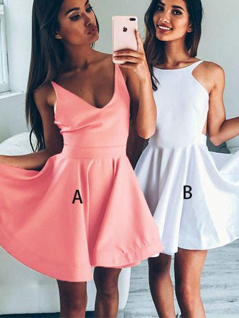 2017 Homecoming Dress Scoop V-neck Sleeveless Short Prom Dress Party Dress JKS008