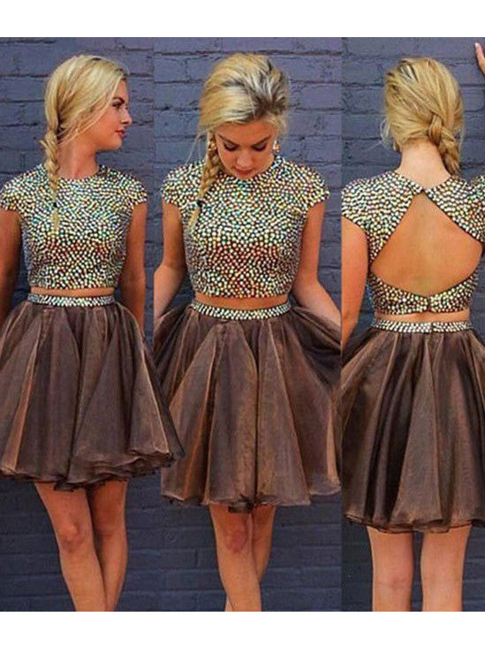 2017 Homecoming Dress Rhinestone Scoop Short Prom Dress Party Dress JKS015