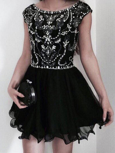 2017 Homecoming Dress Rhinestone Bateau Short Prom Dress Party Dress JKS017