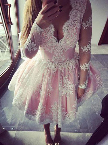 2017 Homecoming Dress Appliques V-neck Short Prom Dress Party Dress JKS024