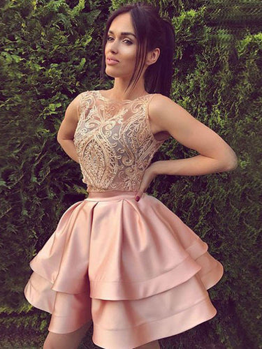 2017 Homecoming Dress Beading Bateau Short Prom Dress Party Dress JKS025