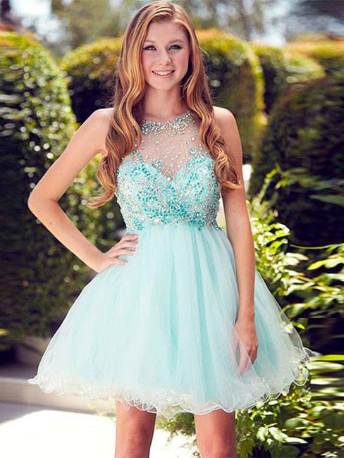 2017 Homecoming Dress Rhinestone Sleeveless Short Prom Dress Party Dress JKS026
