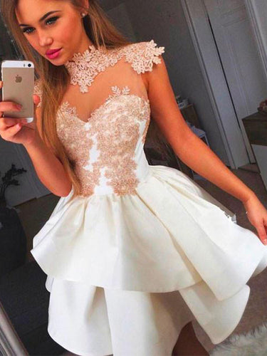 2017 Homecoming Dress Appliques High Neck Short Prom Dress Party Dress JKS027