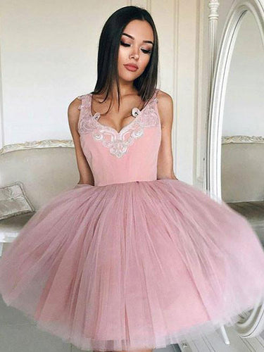 2017 Homecoming Dress Tulle Straps Appliques Short Prom Dress Party Dress JKS029