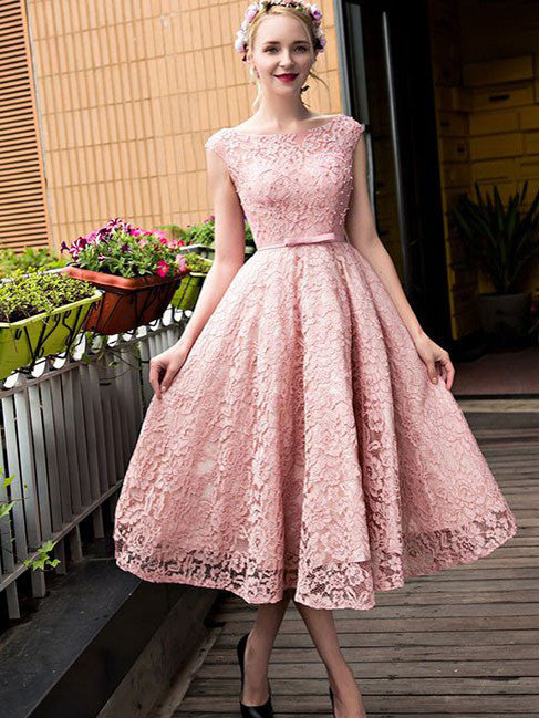 2017 Homecoming Dress Lace-up Bowknot Tea-length Short Prom Dress Party Dress JKS031