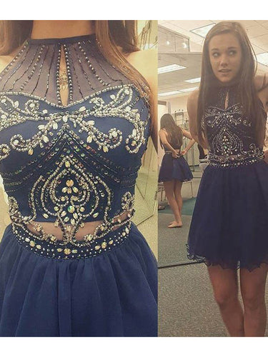 2017 Homecoming Dress Rhinestone Halter Short Prom Dress Party Dress JKS034
