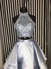 2017 Homecoming Dress Sexy Two Pieces Silver Short Prom Dress Party Dress JKS039