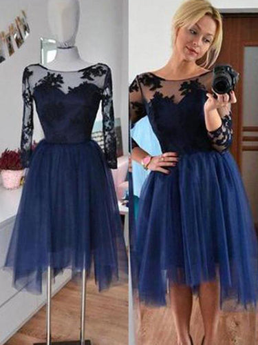 2017 Homecoming Dress Dark Navy 3/4-Length Short Prom Dress Party Dress JKS040