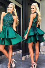 2017 Homecoming Dress Chic High Neck Rhinestone Short Prom Dress Party Dress JKS044