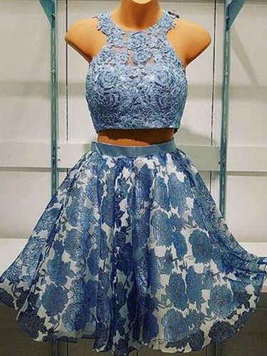 2017 Homecoming Dress Beautiful Lace Two Pieces Short Prom Dress Party Dress JKS048
