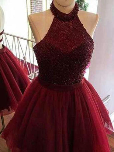 Homecoming Dress Sexy Beading Burgundy Short Prom Dress Party Dress JKS050