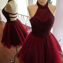 2017 Homecoming Dress Sexy Beading Burgundy Short Prom Dress Party Dress JKS050