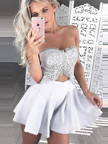 2017 Homecoming Dress Beautiful Sexy Lace White Short Prom Dress Party Dress JKS052