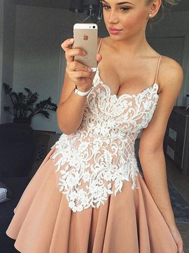 2017 Homecoming Dress Chic White Lace Chiffon Short Prom Dress Party Dress JKS053