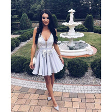 Homecoming Dress V-neck Silver Appliques Short Prom Dress Party Dress JKS055|Annapromdress