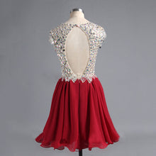Sexy V-neck Homecoming Dress Red Chiffon Short Prom Dress Party Dress JKS063