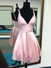 Cute Pink Homecoming Dress Spaghetti Straps Short Prom Dress Party Dress JKS067
