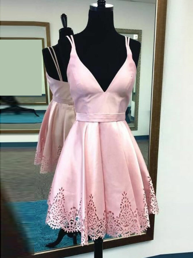 ea6a7648adf Cute Pink Homecoming Dress Spaghetti Straps Short Prom Dress Party Dress  JKS067