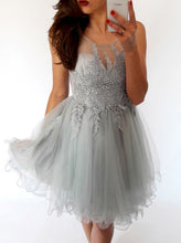 Lace Homecoming Dress Silver Scoop Tulle Short Prom Dress Party Dress JKS068